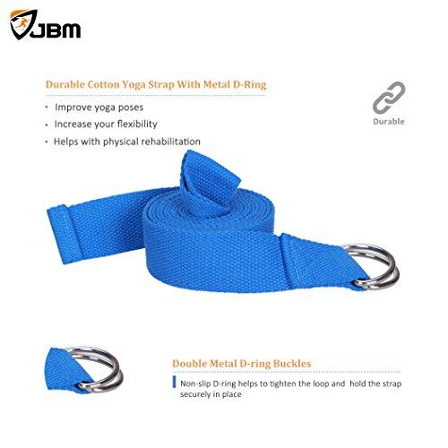 JBM international JBM Yoga Block plus strap with Metal D Ring Yoga Brick Cork Yoga Block 6 colors High Density EVA Foam Yoga Block to Support and Deepen Poses, Lightweight, Odor Resistant