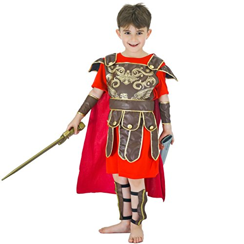 flatwhite Kids Roman Warrior Costume (7-9Y), Red,brown
