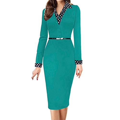 kaifongfu Long Sleeve Hip Skirt Pencil Dresses for Party Working Office (Green,M) ()