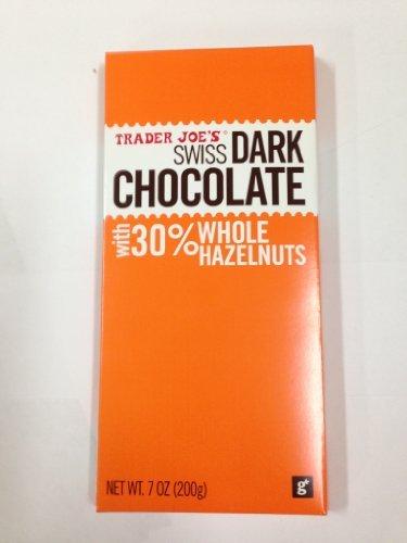 - Trader Joes Swiss Dark Chocolate with 30% Whole Hazelnuts