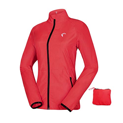 - Women's Packable Windbreaker Jacket, Lightweight and Water Resistant, Active Cycling Running Skin Coat, Red M