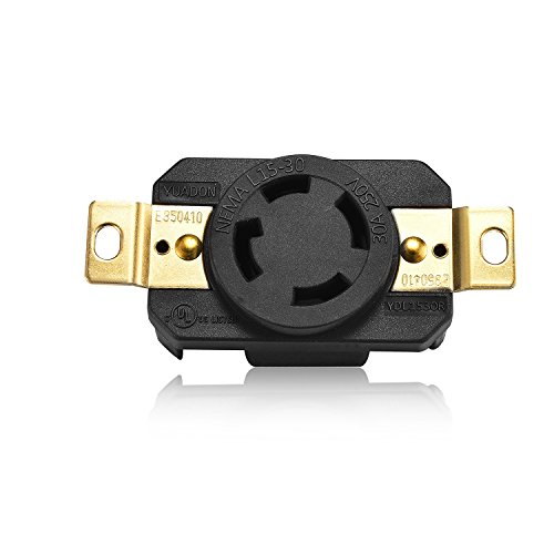 Aweking UL Listed NEMA L15-30R Receptacle Connector Socket,30A 30 Amp,AC 250V 250 Volt,3 Pole-4 Wire,Grouding,Twist Locking,Black Gray