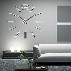 Diy Wall Clock - Modern Abstract Metal Wall Clock 3d Home Decor Mute Diy Quartz Horloge Needle Watch Living Room - Mechanism Large 3d Picture Piece Sticker Hands Brown Movement Small