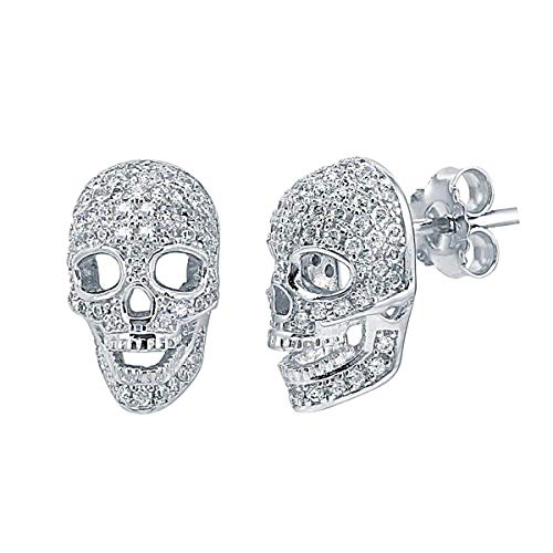 (14K White Gold Plated 0.50 Ct Round Cut Simulated Diamond Skull Stud Earrings)