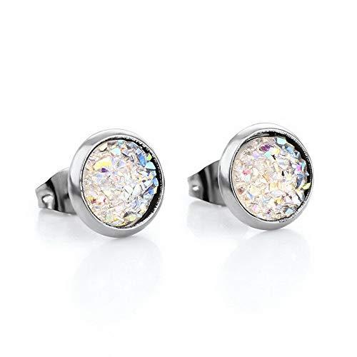 Dokis Elegent Women CZ Crystal Starry Sky Round Shiny Ear Stud Earrings 8mm Jewelry | Model ERRNGS - 2739 |
