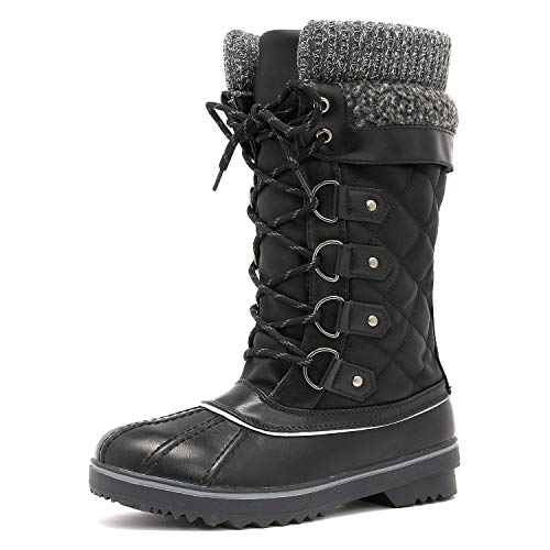 Monte_02 Black Mid Calf Winter Snow Boots Size 7 M US ()