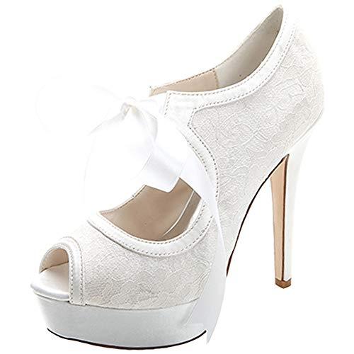 Hlg forme Plate À White Talons Chaussures Peep Hauts Toe Femmes Bandage Satin Banquet De Talon Mariage Dames Dentelle HfrWHwpq