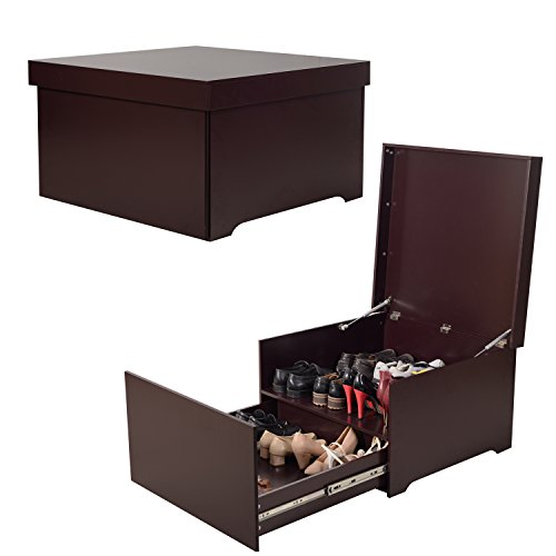 (Organizedlife High-Capacity Brown Shoe Box Cabinet Seat with Drawer)