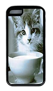 for iphone 5/5S Case Drink Milk Animal TPU Custom for iphone 5/5S Case Cover Black