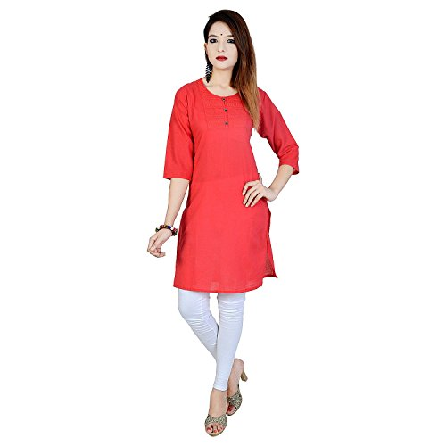 Chichi Indian Women Kurta Kurti 3/4 Sleeve Medium Size Plain Short Aboli ()