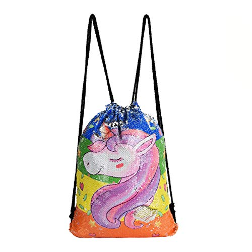 Price comparison product image Editha Unicorn Sparkly Mermaid Sequins Drawstring Bag Magic Reversible Backpack Sport Outdoor Shoulder Bag Schoolbag