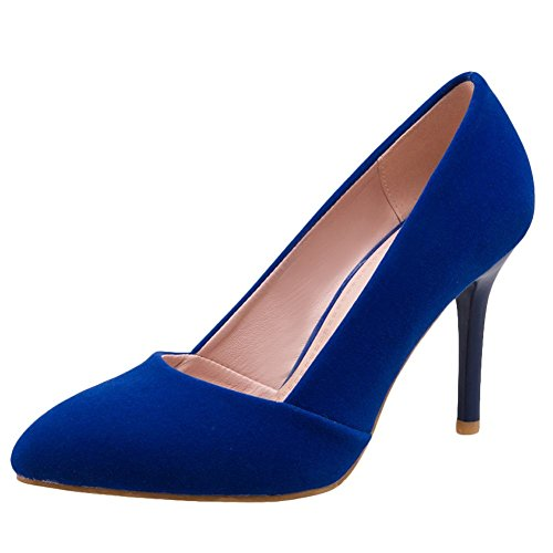 Carolbar Women's Grace Charm Pointed Toe High Heel Stiletto Court Shoes Blue bwz8Qz