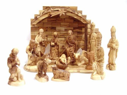 Olive Wood Crown Nativity Set (15 Pieces Set) by Holy Land Market