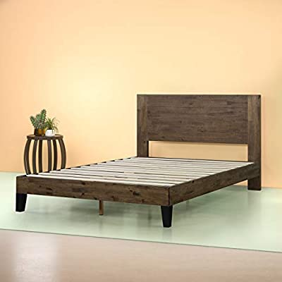 Zinus Tonja Platform Bed / Mattress Foundation / Box Spring Replacement / Brown, Queen - Updated styling with strong wood slat mattress support Easy to assemble and no Box Spring needed/mattress sold separately Wood headboard and frame with metal interior support - bedroom-furniture, bedroom, bed-frames - 41wAf7VXXZL. SS400  -