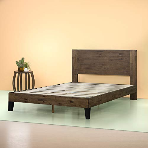 Zinus Tonja Platform Bed / Mattress Foundation / Box Spring Replacement / Brown, King
