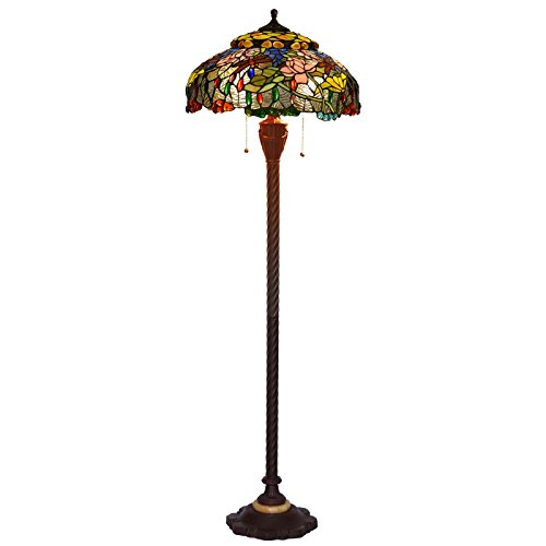 Bieye L10498 19-inches Lotus and Dragonfly Tiffany Style Stained Glass Floor Lamp with Zinc Base