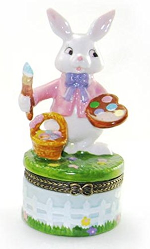 - Painting Artist Easter Bunny Hinged Trinket Box phb