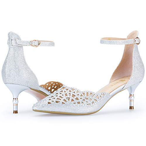 IDIFU Women's IN2 Candice Wedding Rhinestones Sequins Low Kitten Heels Pumps Dress Evening Shoes for Women Bridal Bride