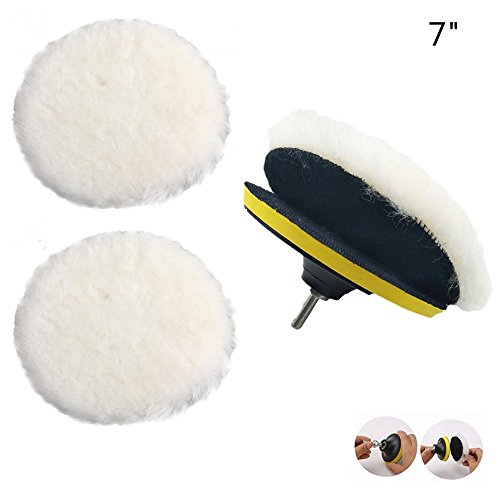 IROCH Wheel Polishing Pad and Polishing Buffer Woolen Polishing Waxing Pads Kits with M14 Drill Adapter With polished and polished items such as artificial stone furniture cars (7 Inch)