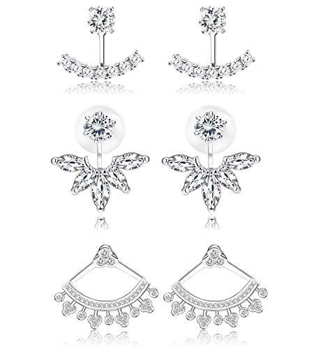 Udalyn 3 Pairs Silver Ear Jacket Earrings for Women Girls Front Back Lotus Flower Ear Stud Cuff Earrings