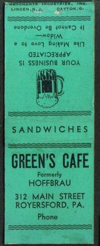 Green's Café nee Hoffbrau Royersford PA matchcover (Royersford Pa)