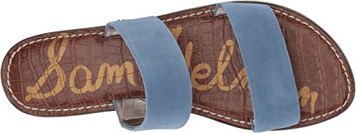 Edelman Suede Kid Slide Sandal Sam Women's Gala Leather Blue Denim ZqwTZdH