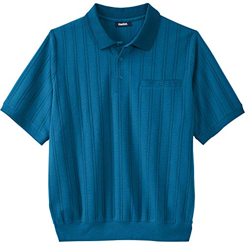 - KingSize Men's Big & Tall Banded Bottom Textured Polo Shirt, Midnight Teal Tall-L