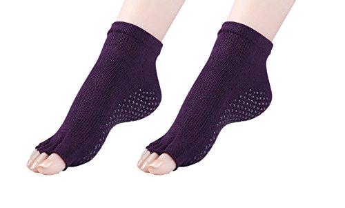 Cosfash Yoga Socks Non Slip Skid Toeless Grips for Pilates Barre Women Men 2 Pack (2 pairs dark purple(toeless))