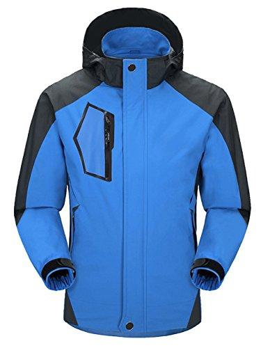 Aibrou Chaqueta Hombre/Mujer Impermeable Capucha de 100% poliéster diseño Espectacular Azul