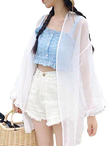 Gergeousレディース シフォン カーディガン 長袖 韓国ファッション 夏 日焼け対策 アウター 冷房対策 白 ゆったりカーディガン ストリート かわいい