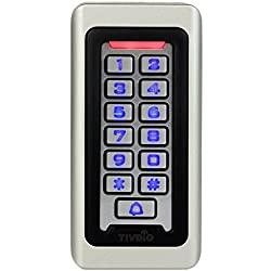 TIVDIO Door Keypad Door Lock Keypad Access Control Access Keypad System RFID 125KHz Proximity Card Standalone Access Control with 2000 Users for Outdoor and Indoor (Silver)