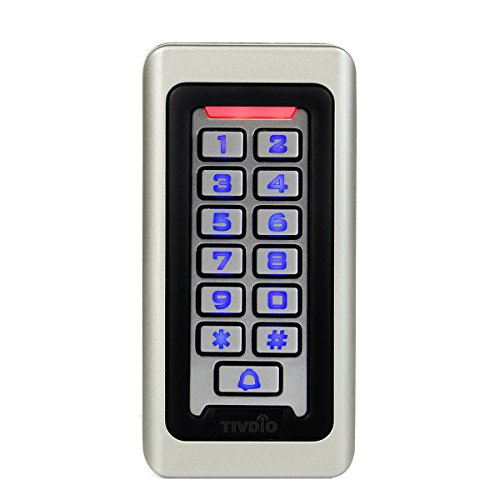 TIVDIO Access Control Keypad Door Keypad Outdoor Waterproof IP68 Metal Case RFID 125KHz Keypad Single Door Stand-alone with 2000 Users for Outdoor and Indoor Wiegand 26 bit I/O (Silver)