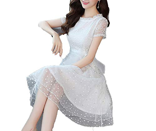 White Lace Brentwood - New Chiffon Stitching lace Dress Summer Korean Temperament Slim Slimming Waist A Word Skirt,red,M