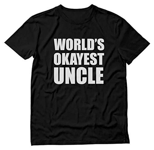TeeStars - World's Okayest Uncle - Funny Gift Idea - Relatives Family T-Shirt Large Black