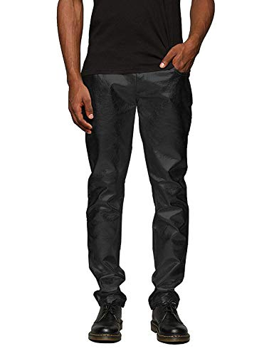 COOFANDY Mens Metallic Shiny Jeans Party Dance Disco Nightclub Pants Straight Leg Trousers (XL, Mature Black) ()