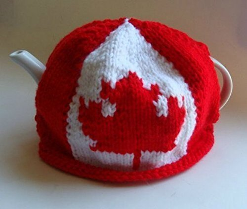 Canadian Flag Knitted Teapot Cozy - Canadian Pot