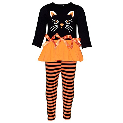 Halloween Kids Outfits (Unique Baby Girls Black Cat Halloween Outfit with Bows and Stripes (6/XL, Orange))