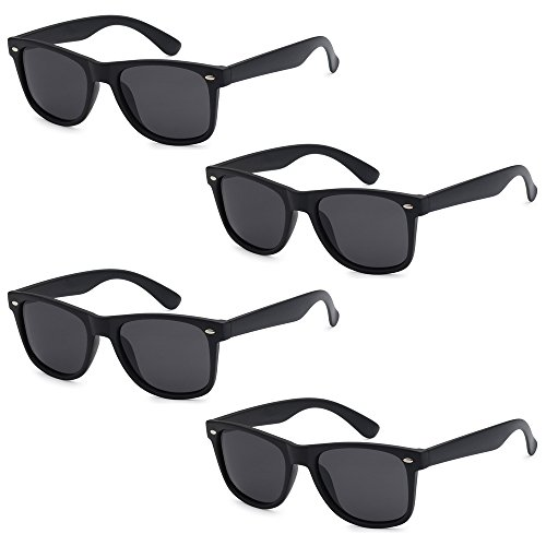 WHOLESALE UNISEX 80'S RETRO STYLE TRENDY SUNGLASSES - 4 PACK (Matte Black | Smoke Lenses, - Sunglasses 4 Pack