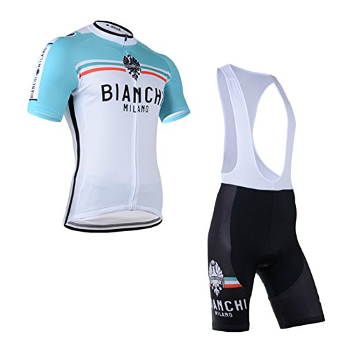 2014 Outdoor Sports Pro Team Men's Short Sleeve Bianchi Cycling Jersey and Bib Shorts Set White