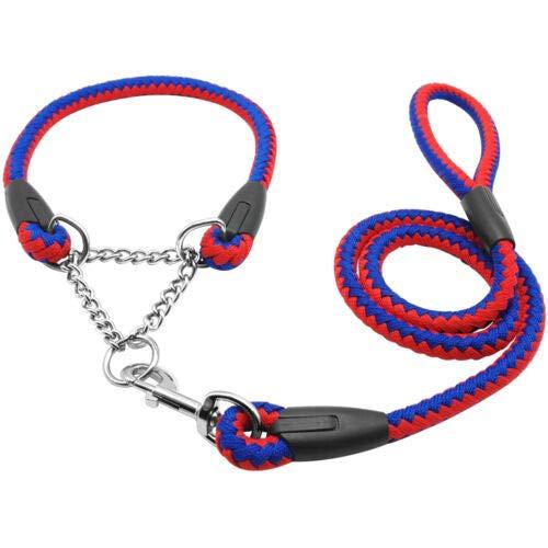 FidgetGear Martingale Rope Braided Dog Training Collar & Leash Set for Labrador redtweiler Red+bluee 22-26