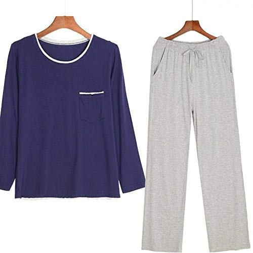 Vintage Algodón Gran Tamaño Primavera Comodidad Pijama Manga Suelta Pijamas Azul Larga Y Hogar Otoño qxwFUx1