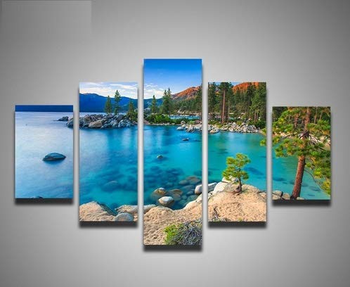(kkxdpq Frameless 5 Pieces Painting Wallpaper Oil Print On Canvas Wall Art Home Decor Lake Tahoe Sunset Sand Harbor Beach)