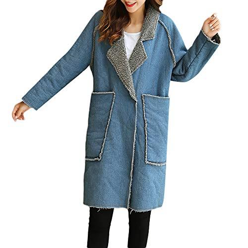 Womens Warm Parka,KIKOY Winter Fleece Lined Jean Jacket Outwear Long Denim Coat (Snowboard Goggles Wine)