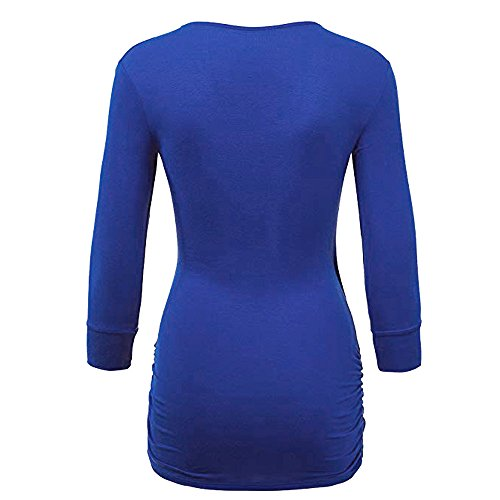 Women Quarter Casual Three Front Solid Blue DAYSEVENTH Drape Wrap Top Blouse dqC6aqw