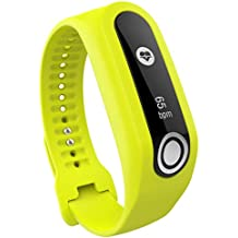 Kacowpper Quick Replacement Band Strap For TomTom Cardio Fitness Tracker with Heart Rate Monitor,Soft Silicone Bluetooth Smart Bracelet band Strap (Yellow)