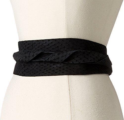 Collection Leather Belt (ADA Collection Women's Obi Classic Wrap Black Python Belt)