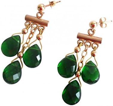 Gemshine - Pendientes chandelier oro de 14k (585) turmalinas de cuarzo, color de la gema verde