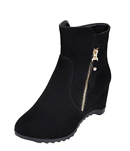 VECJUNIA Ladies Faux Suede Height Increasing Autumn Side Zip Work Ankle Boots Size 2-8.5 Black