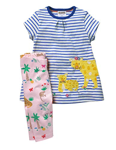 Fiream Girls Cotton Clothing Sets Summer Shortsleeve Leopard Dress Capri Pants 2 Pieces Clothing Sets(SY048,5T) ()