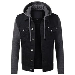 Men's Hipster Hip Hop Button Down Long Sleeve Hooded Denim Jacket